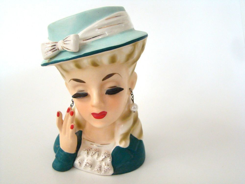 Vintage 1960 S Lady Head Vase Stunning Lady Blonde Curls Ceramic Lashes And Hand Head Vase Vintage Vintage Collection