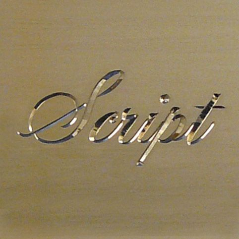 script styles engraving showing the word script using cursive