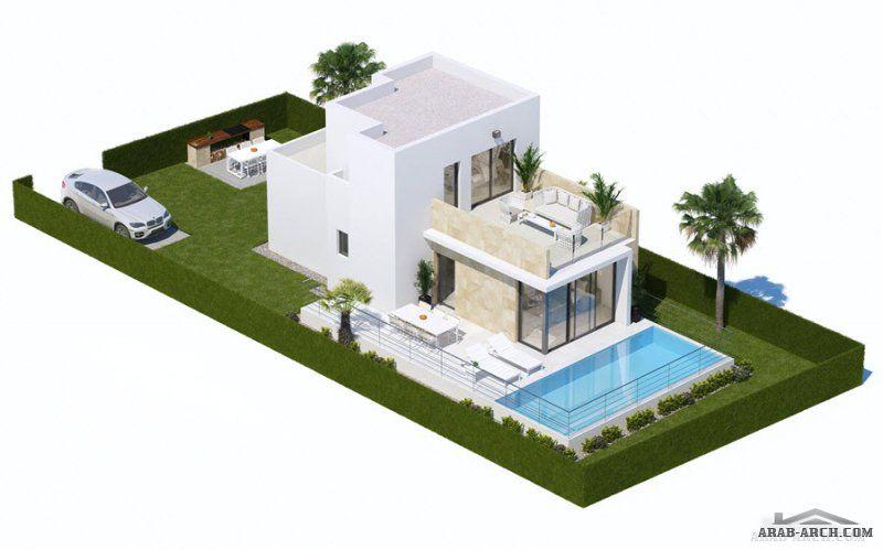 مخطط شاليه 94 متر مربع Modern House Exterior Small House House Styles