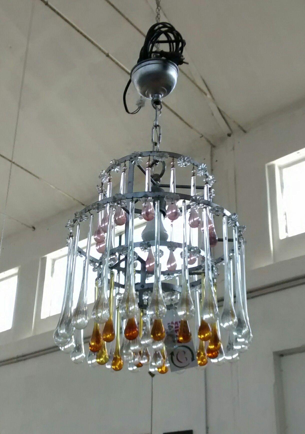 Gocce Vetro Per Lampadari.Lampadario Anni 50 Con Gocce Di Vetro Di Murano Colorate