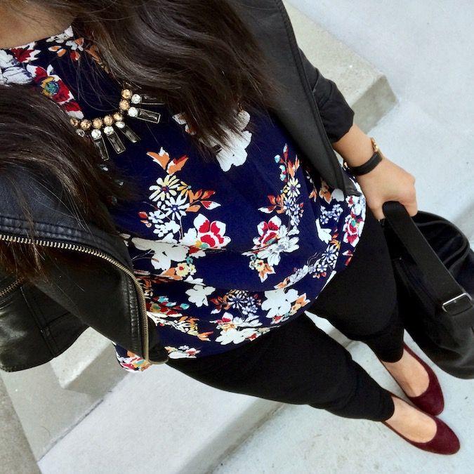 Putting Me Together: Instagram Roundup #18. Blue floral blouse+black skinny pants+burgundy pumps+black moto leather jacekt+black handbag. Winter Casual Business Outfit 2017