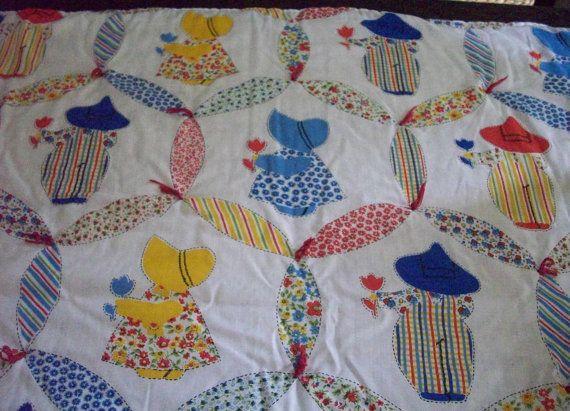 Vintage Sun Bonnet Sue And Sam Children S Blanket Tied Etsy Quilt Patterns Free Sunbonnet Sue Quilts