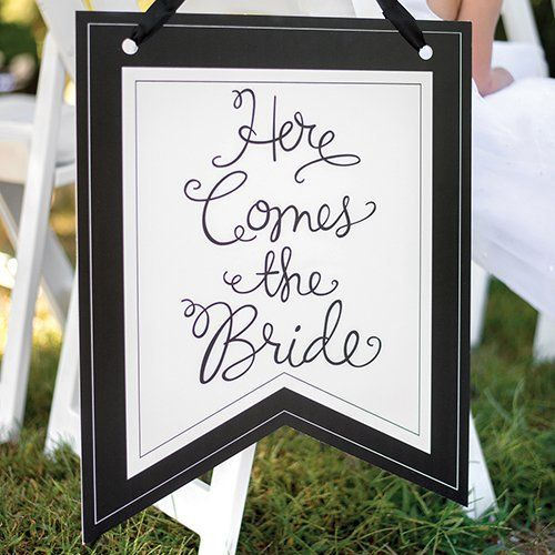 Here Comes The Bride Pennant Sign by Beau-coup