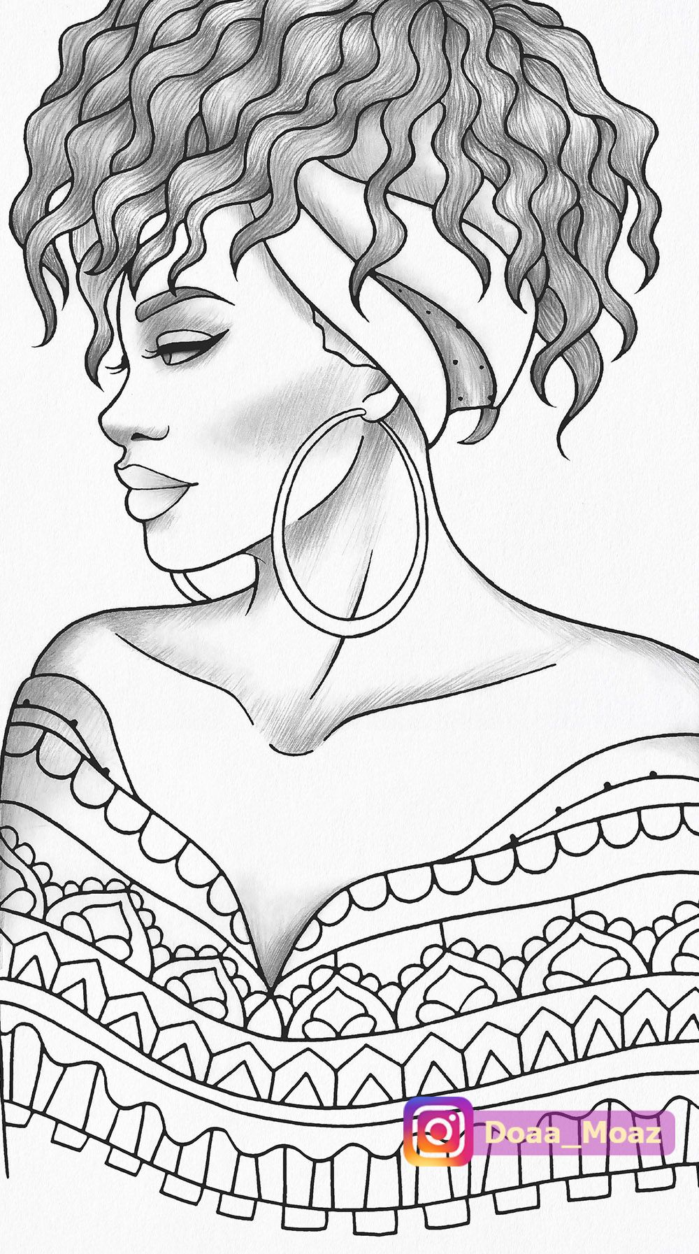 Adult Coloring Page Black Girl Portrait And Clothes Colouring