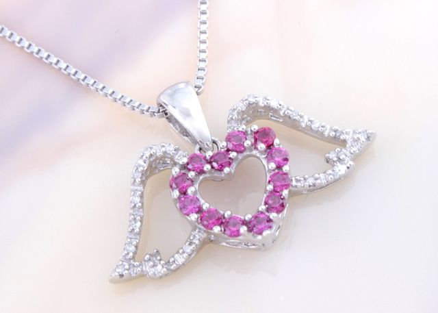 Solid 925 Sterling Silver with Created Ruby and Genuine Diamond Angel Wings Pendant!        D240 . Starting at $27