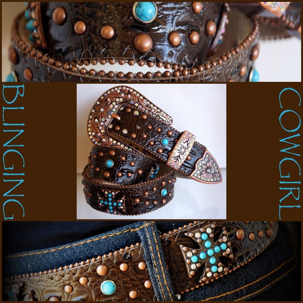 Details about Ladies Plus Size Western Leather Belt Turquoise ...