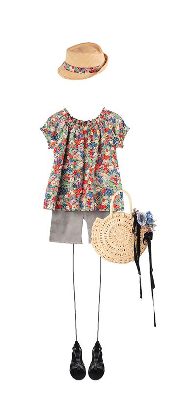 Bonpoint Summer 2015: Anais blouse Poppy Liberty Ava shorts Cloud Hat Poppy Liberty Sans-Arcidet for Bonpoint Natural Navplia sandals Black