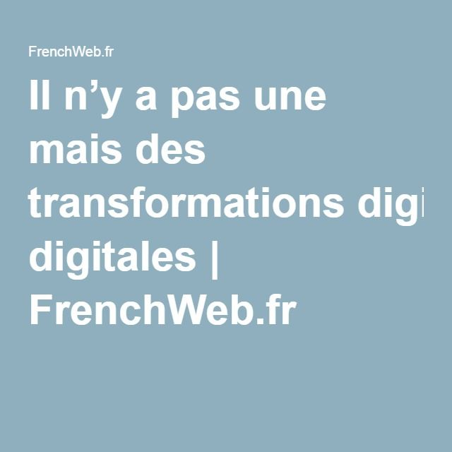 Il n'y a pas une mais des transformations digitales | FrenchWeb.fr