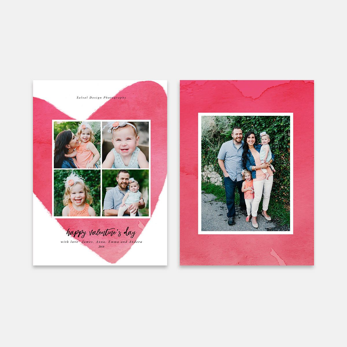 Valentine S Day Card Template For Photographers Psd Flat Card Valentine S Day Photoshop Templa Valentines Day Card Templates Valentines Cards Card Template
