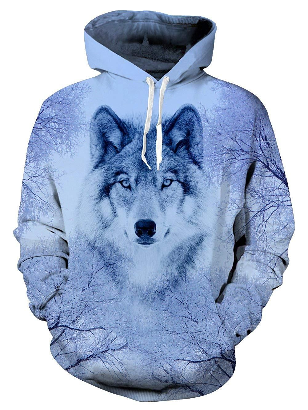 Unisex Animal Wolf 3D Graphic Print Hoodie Sweater Sweatshirt Pullover Tops