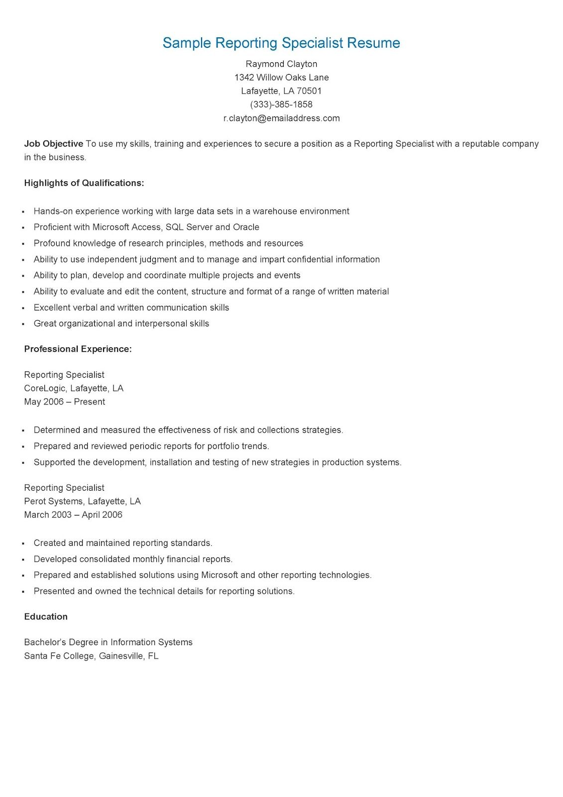 Sample Reporting Specialist Resume  Resame