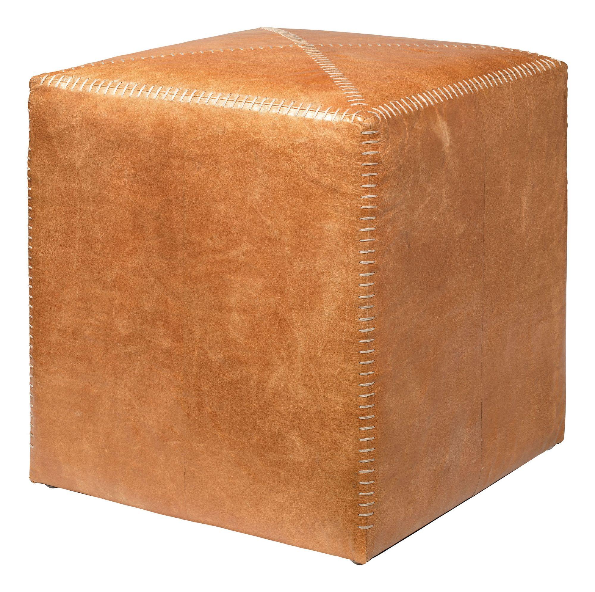 Buff leather cube ottoman wayfair