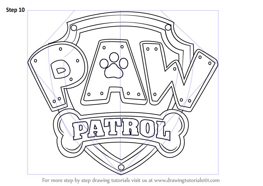 Aprenda A Desenhar Paw Patrol Crachá Pata Patrol Passo A Passo