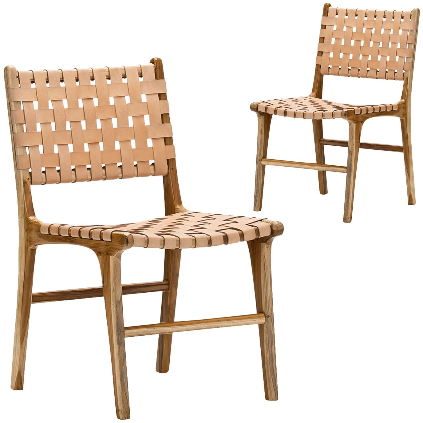Cassie Woven Leather & Teak Dining Chairs (Set of 2) 699