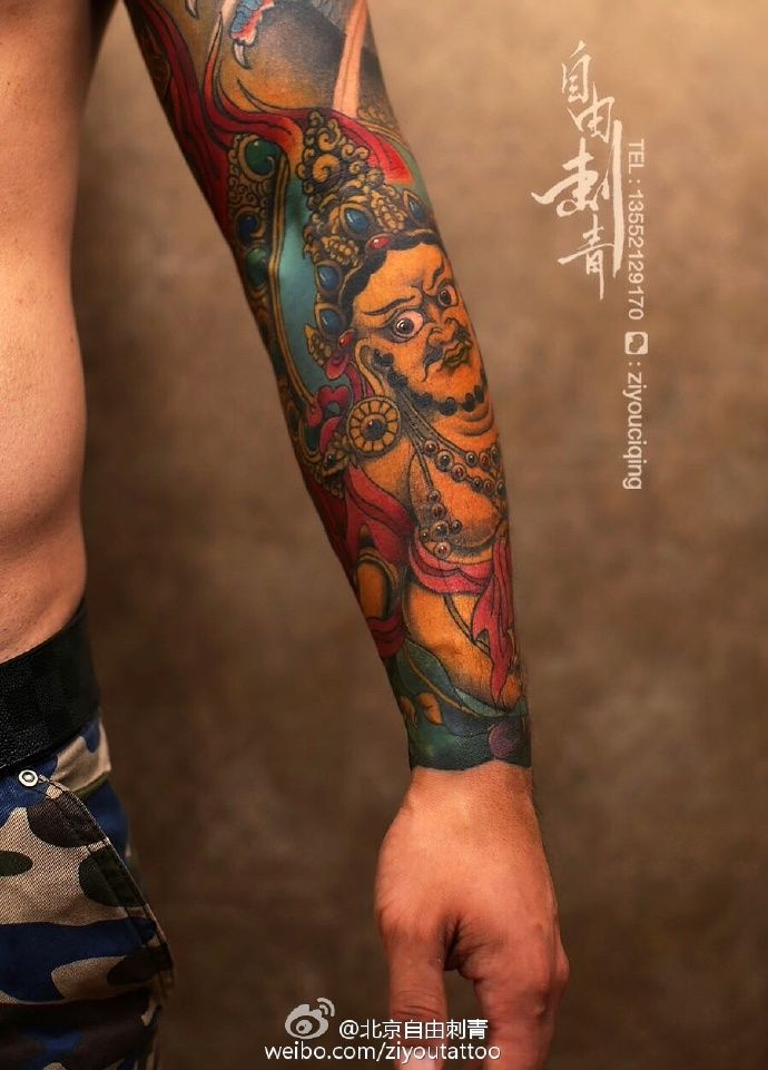 mahakala colour sleeve tattoo by ziyou tattoo tangping beijing china sleeve tattoo by ziyou. Black Bedroom Furniture Sets. Home Design Ideas