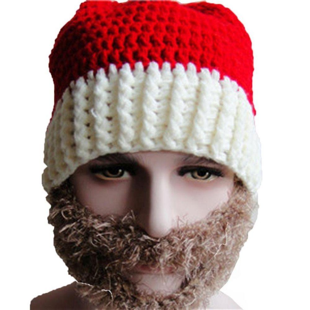 Knitting Warm Ear Santa Hat Knit Winter Christmas Hats with Mustache ...