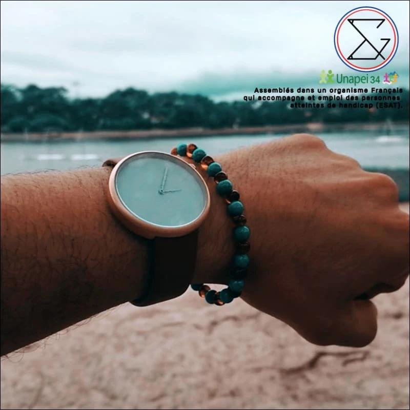 Bracelet Papa / Maman – Ambre / turquoise bleue