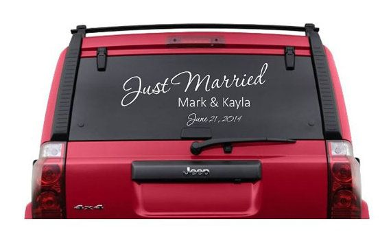 20 personalized just married vinyl car window decal personalized vinyl sticker wedding decor getaway car