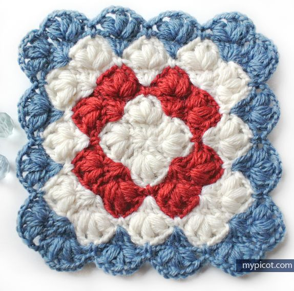 Crochet Puff stitch Square blanket pattern: Diagram + step by step ...