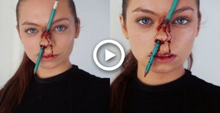 pencil pierced nose  easy  simple sfx halloween makeup