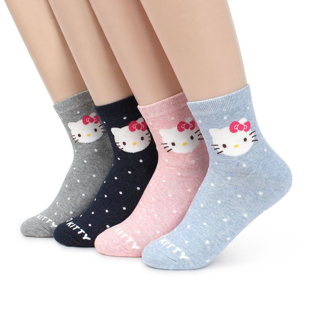 1e24122b0 (4 Pairs) Hello Kitty Ankle Socks Women Girls Dot Pattern Cats Best Fashion  ID69 #kiki #Crew