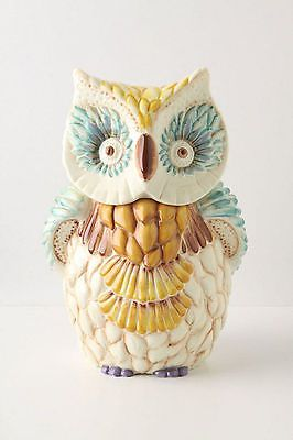 NEW ANTHROPOLOGIE Wide Eyed Owl Cookie Jar Canister
