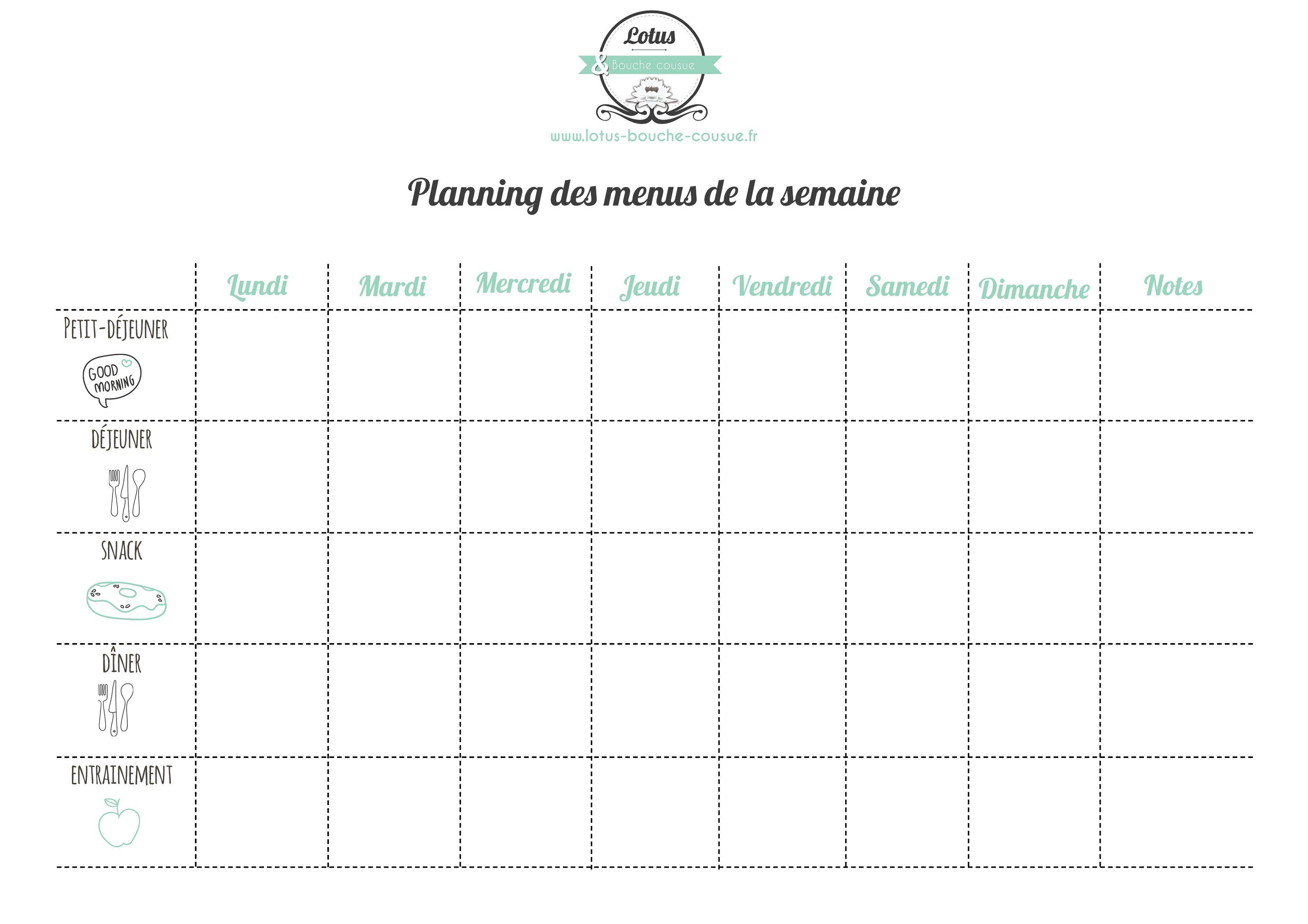 planificateur de menu de régime propre