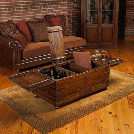Thakat Bar Box Trunk Coffee Table Trunk coffee tables Wine and Bar