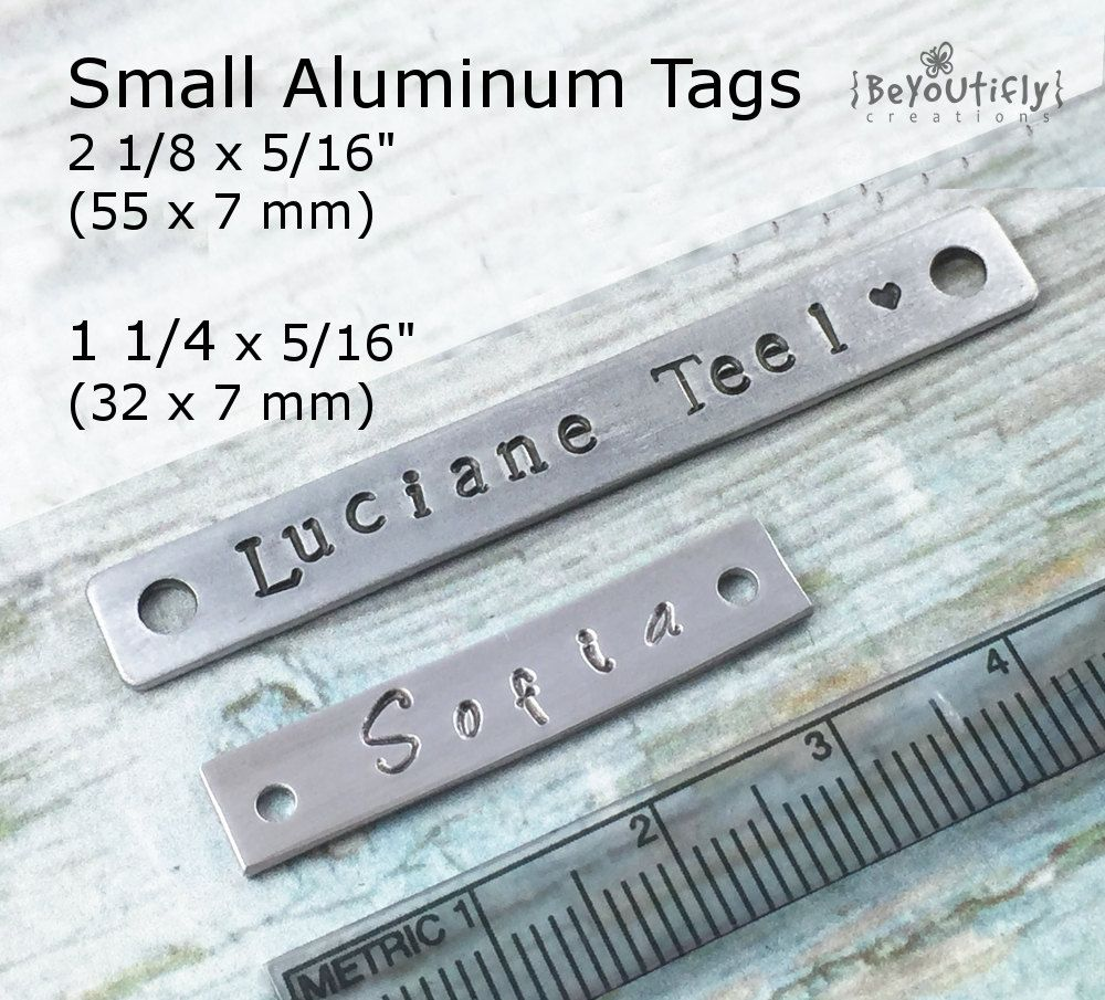 Aluminum Personalized Small Metal Tag Hand Stamped Metal Tag Custom Name Plate Metal Tags Aluminum Tags Hand Stamped Metal