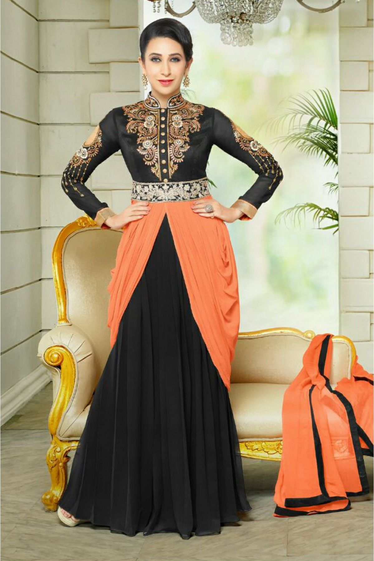 01daff4d4d Black and Peach Colour Georgette Fabric Designer Semi Stitched Anarkali  Salwar Kameez Comes With Matching Dupatta and Bottom Fabric.
