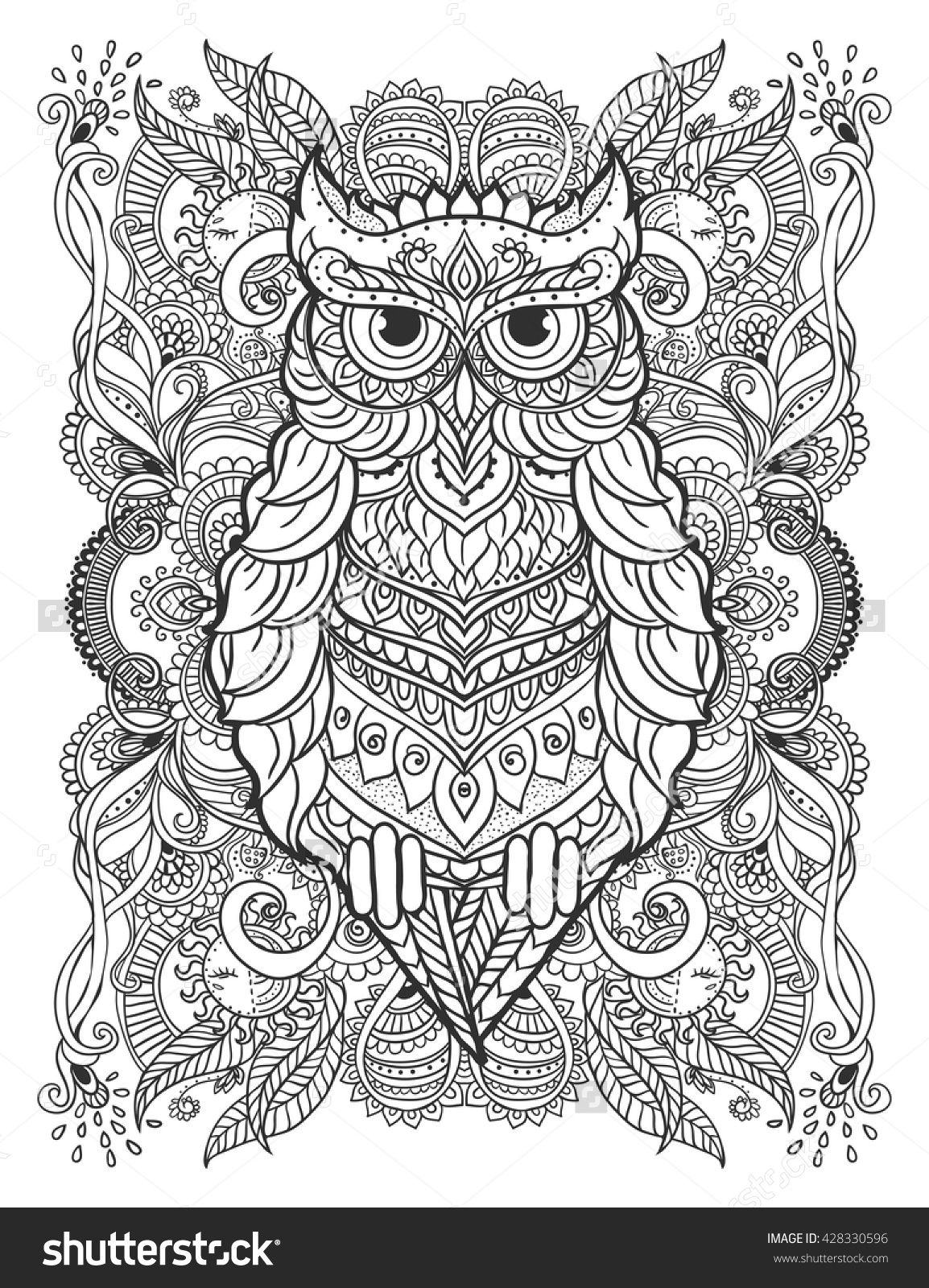 Adult Coloring Page Bohemian Owl Lace