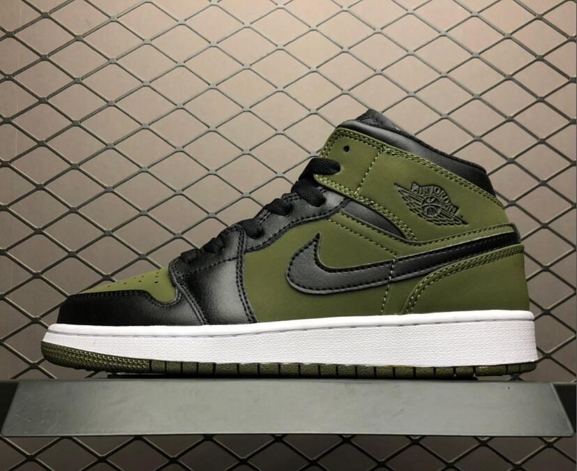 Air Jordan 1 Mid Dark Olive Canvas Black Women s Basketball Shoes ... 0d1b8dd2e