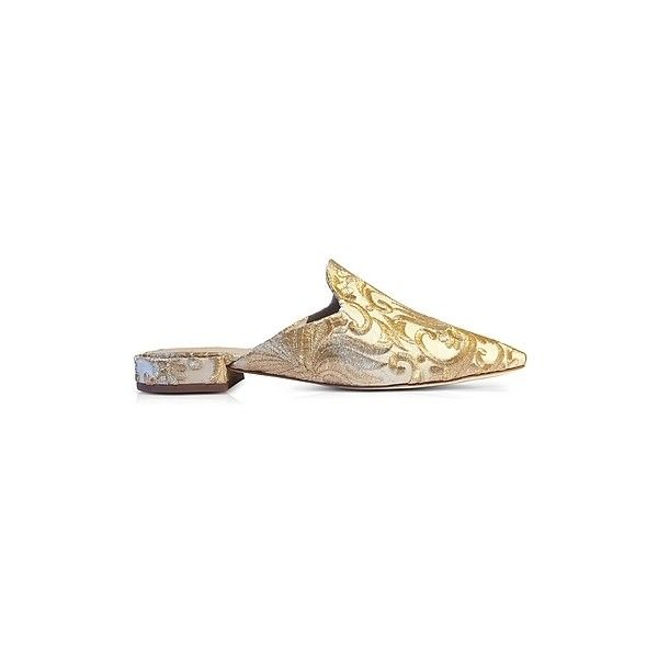 Tory Burch Shoes Carlotta Beige and Gold Embroidered Brocade Mules featuring polyvore women's fashion shoes beige beige shoes tory burch shoes tory burch footwear tory burch mule shoes