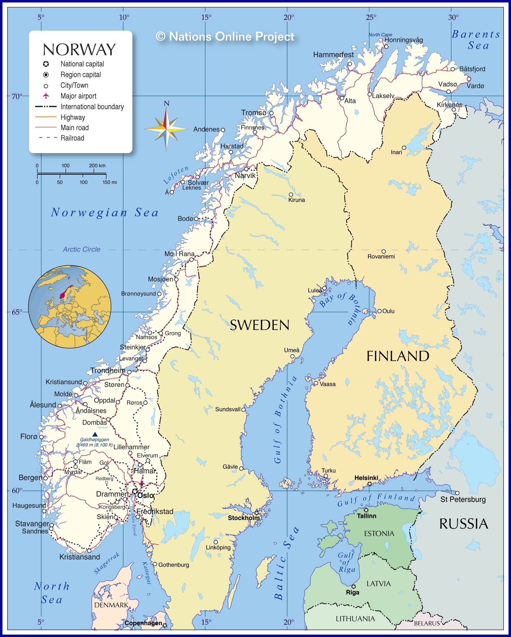 Map Showing Norway With The Location Of Main Cities Main Roads Railways Airports Rivers And Borders Norway Map Norway Sweden Map