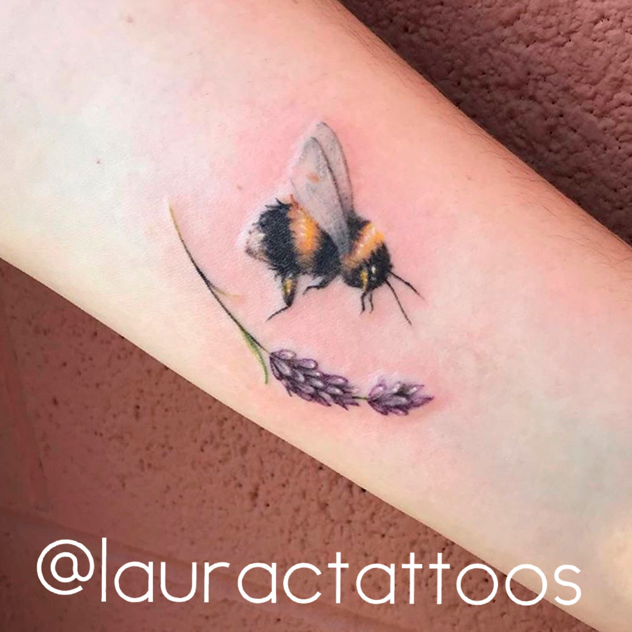 2b177f14f003c Lavender and a bumble bee tattoo, what a happy combination! Such detailed  dainty work by @lauractattoos