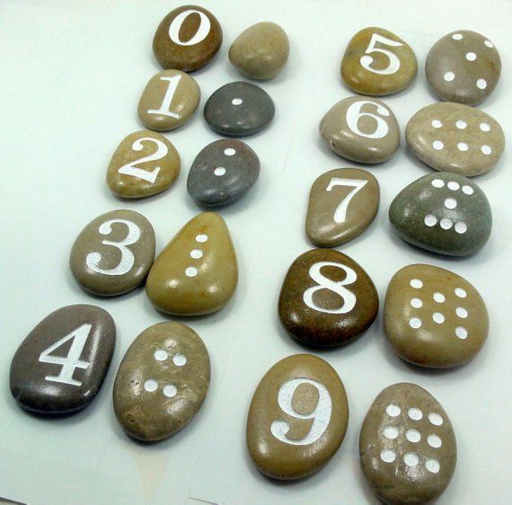 Photo of Montessori touch and feel counting stones, engraved Numbers for kids, Rock numbers, Matching Game, C