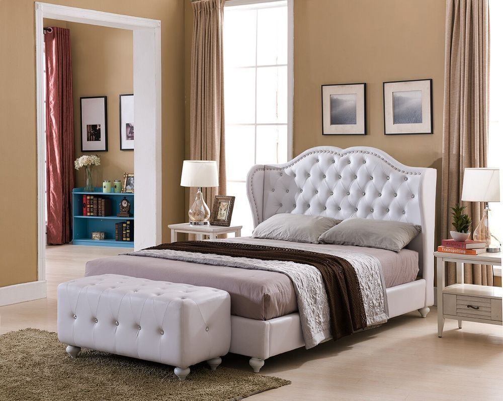 White Tufted Design Leather Look King Size Upholstered