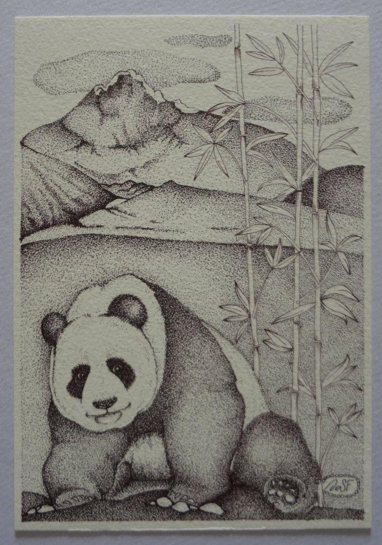 "Original ink art illustration ""Oriental Landscape"" serie no.004. Handmade…"