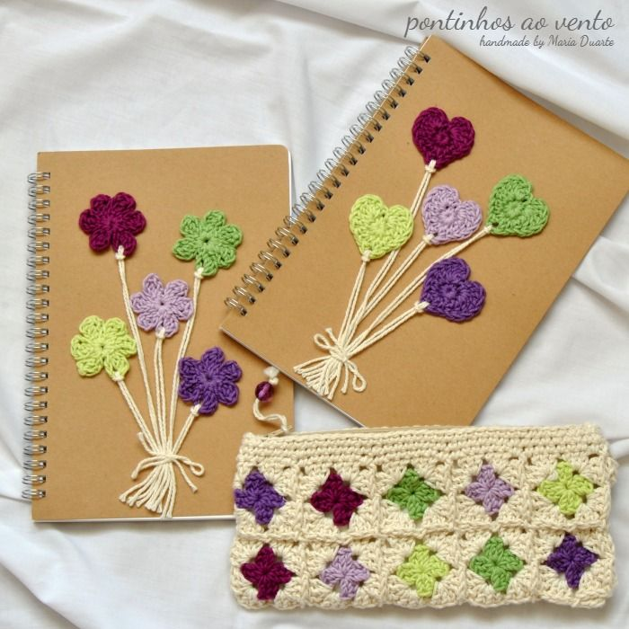 notebook + pencil case crochet - pontinhos ao vento: Diferentes. Iguais. A condizer