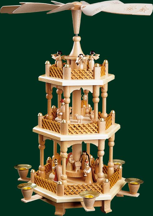 Vintage German Christmas Nativity Pyramid Carousel - 2 Tier ...