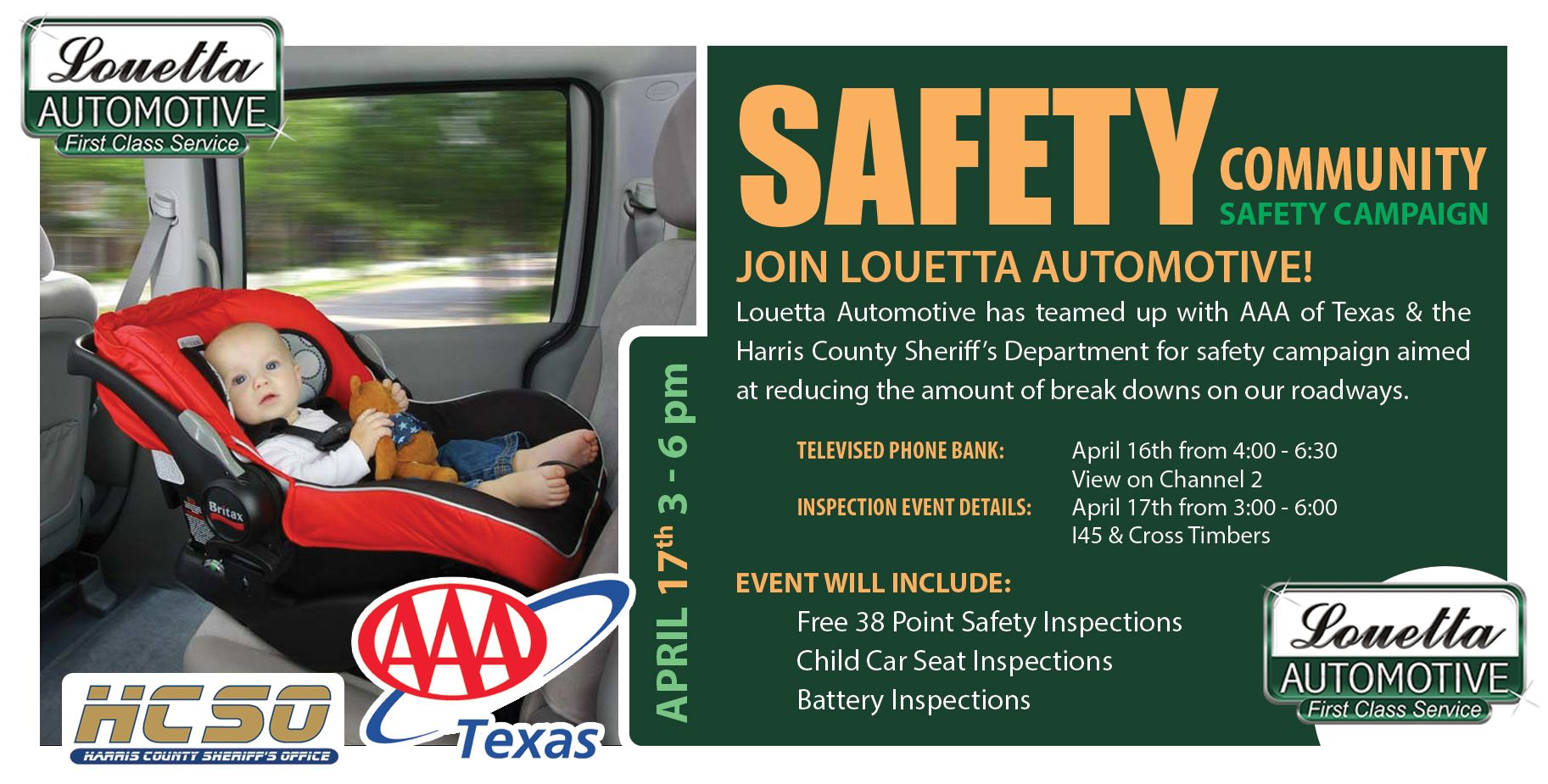 Louetta Automotive Has Teamed Up With AAA Of Texas The Harris County Sheriffs Department For