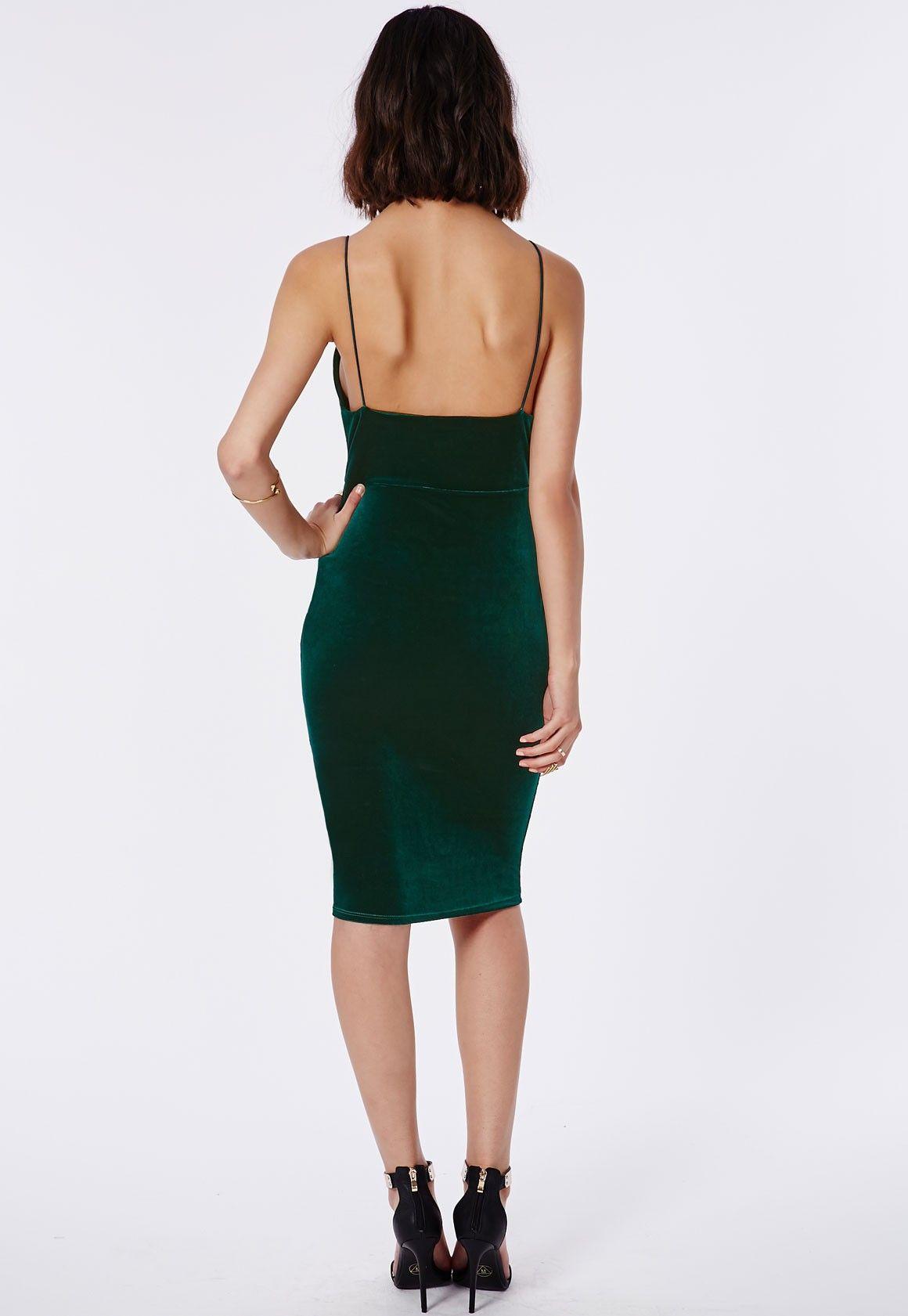 e1fe808483c Missguided - Elodia Velvet Midi Dress Deep Green