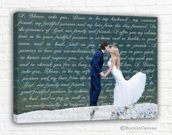 Personalized Wedding Canvas Cotton Anniversary Gift Lyrics Photo Words