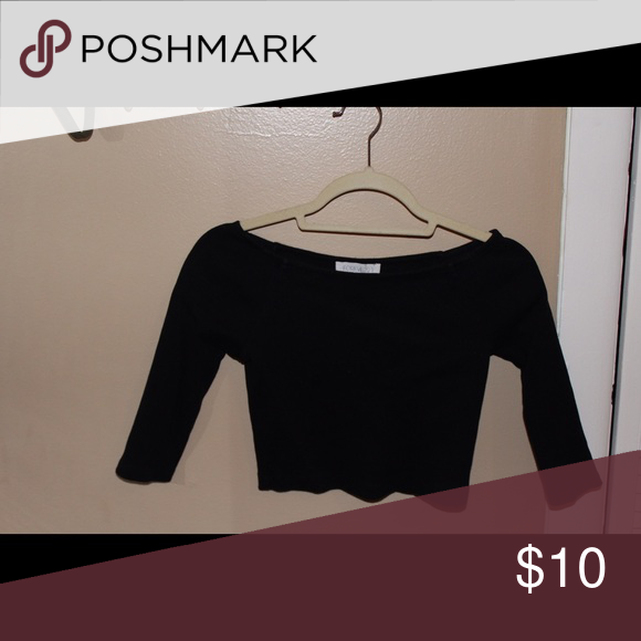 Off the shoulder black crop top Cute and goes with everything! Tops Crop Tops