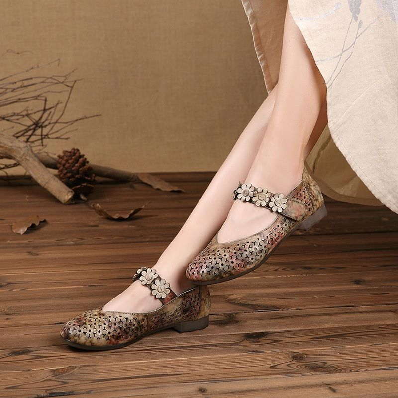 >> Click to Buy << Vintage Style Genuine Leather Designer Women Flats 2017 Spring Cuts Out Flowers Beaded Comfortable Handmade Summer Shoes Woman #Affiliate
