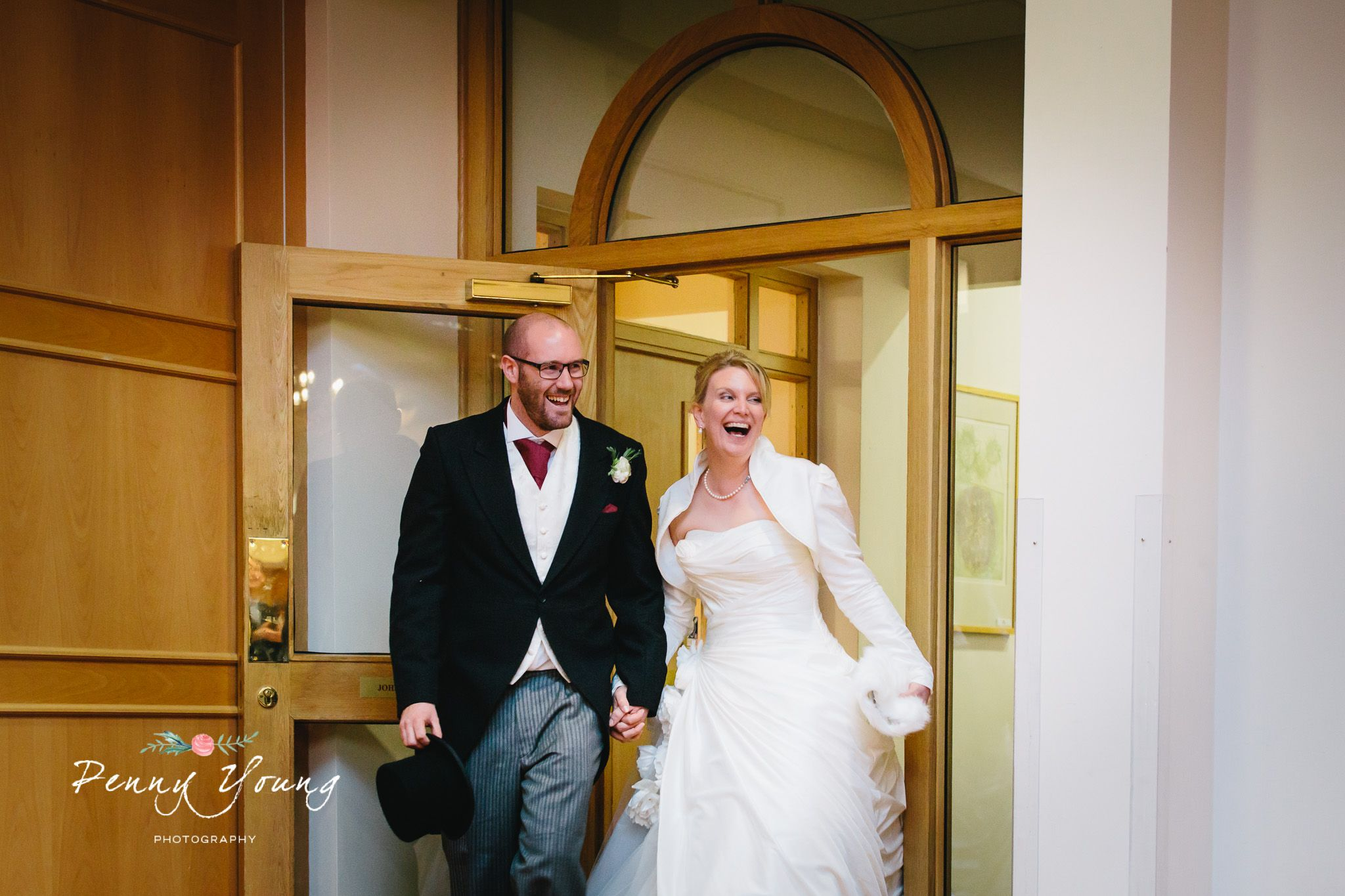 Surprise! Spring wedding reception at Oakwood House in Maidstone Kent. Church wedding. Photography by Penny Young Photography.