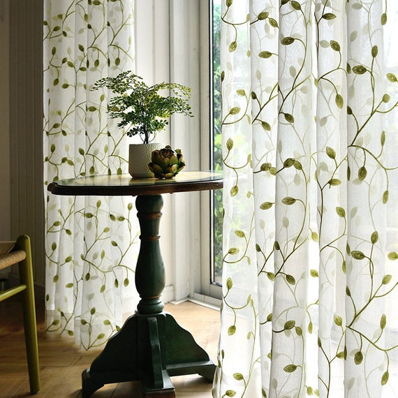 White Green Leaves Embroidery on White Lace Sheer Curtain ...