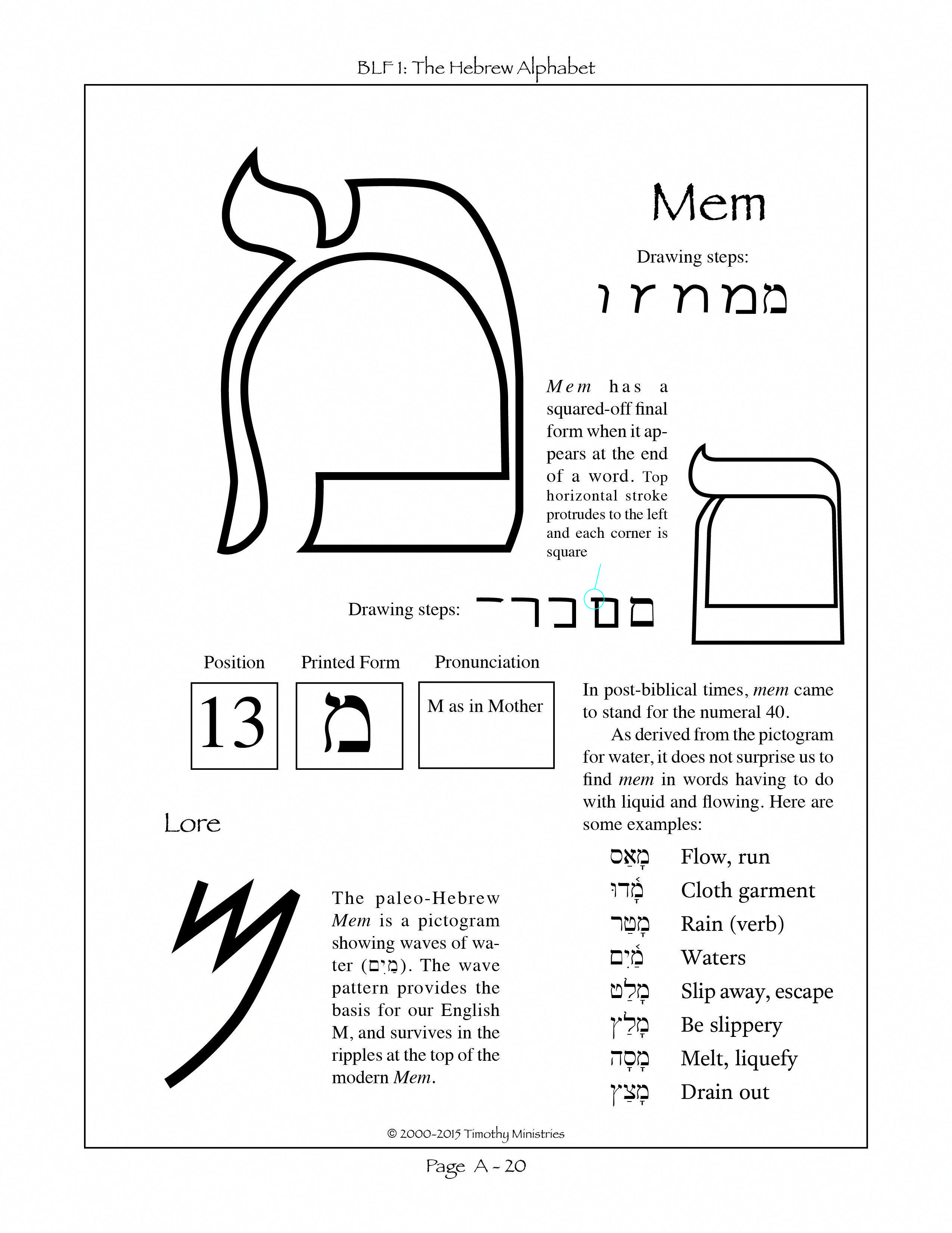 Predownload: The Thirteenth Letter Of The Hebrew Alphabet Hebrewlessons Hebrew Lessons Learn Hebrew Alphabet Hebrew Letters [ 3301 x 2550 Pixel ]