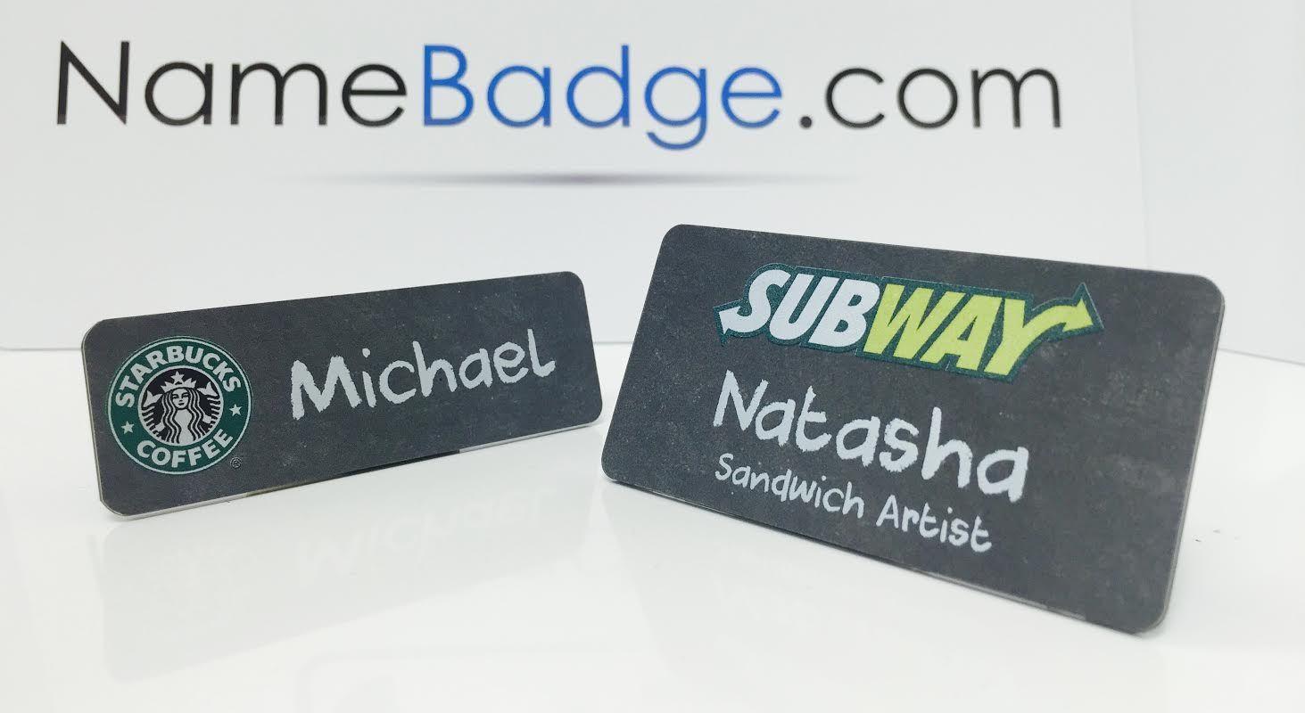 Chalkboard Name Tags. Custom printed chalkboard name