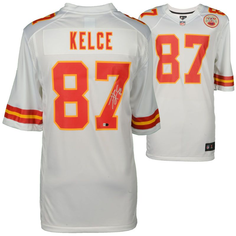 7a68b2126 Travis Kelce Kansas City Chiefs Fanatics Authentic Autographed White Nike  Game Jersey